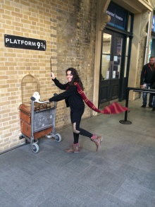 Platform 9 3/4 at King's Cross station in London, England